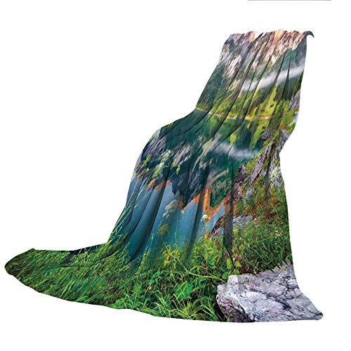 - SCOCICI Creative Flannel Printed Blanket for Warm Bedroom,Nature,Misty Summer Morning on Austrian Alps Mountain Range with Lake Wanderlust Landscape,Green Blue,47.25