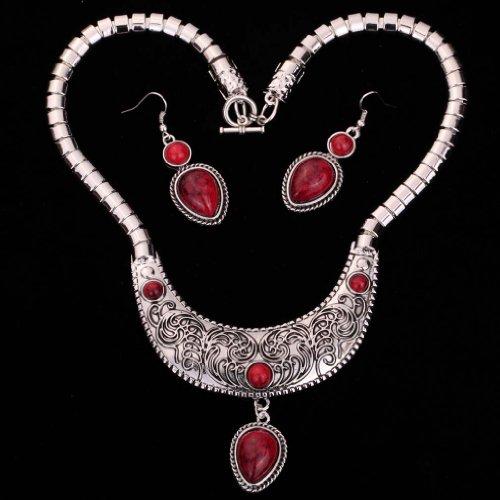 Yazilind Vintage Argent tibetain collier decoupe Declaration Teardrop Pendant Rouge Turquoise boucles d'oreill