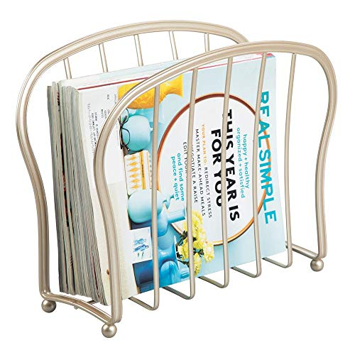mDesign Decorative Metal Wire Magazine Holder, Organizer - Standing Rack for Magazines, Books, Newspapers, Tablets, Laptops in Bathroom, Family Room, Office, Den - Pearl Champagne
