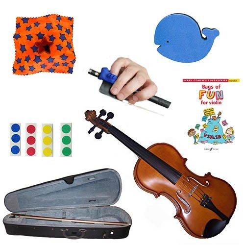Bag Rest Shoulder - Childrens Violin Beginner Violin Pack 1/10 (4-5yr old) -with Beginner Violin Book, Finger Markers, Star Rosin, Whale shoulder rest, Blue Hold Fish