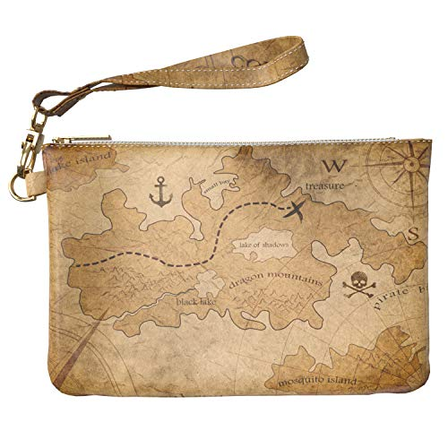 Lex Altern Makeup Bag 9.5 x 6 inch Map Treasure Pirate Vintage Anchor Funny Toiletry Women Zipper Organizer Bathroom Storage Wristband Girl Accessories Printed Purse Pouch Cosmetic Travel Case Design