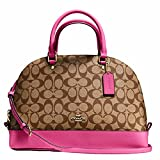 New Authentic COACH 'Sierra Satchel Dome' Khaki/Dahlia Pink Leather Domed