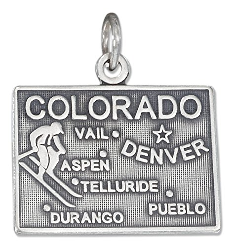 Sterling Silver Antiqued Colorado State Charm