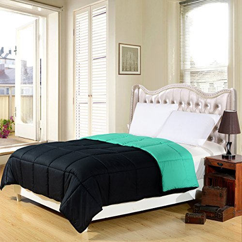 black aqua green super soft goose down alternative reversible queen full size comforter. Black Bedroom Furniture Sets. Home Design Ideas
