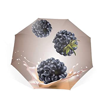 6f6b77b17f47 Amazon.com: Blackberries With Milk Travel Umbrella, Automatic ...