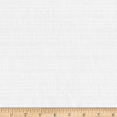 Robert Kaufman Kaufman Cote D'Azur Seersucker 1/8 in Multi Stripe White Fabric by The -