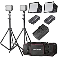 Neewer 2-Pack CN-126 LED Video Light Lighting Kit for DSLR Cameras, Includes:(2)Dimmable LED Panel,(2)6 feet Light Stand,(2)Softbox,(4)Color Filter,(2)2600mAh Li-ion Battery,(1)Charger,(1)Carry Bag