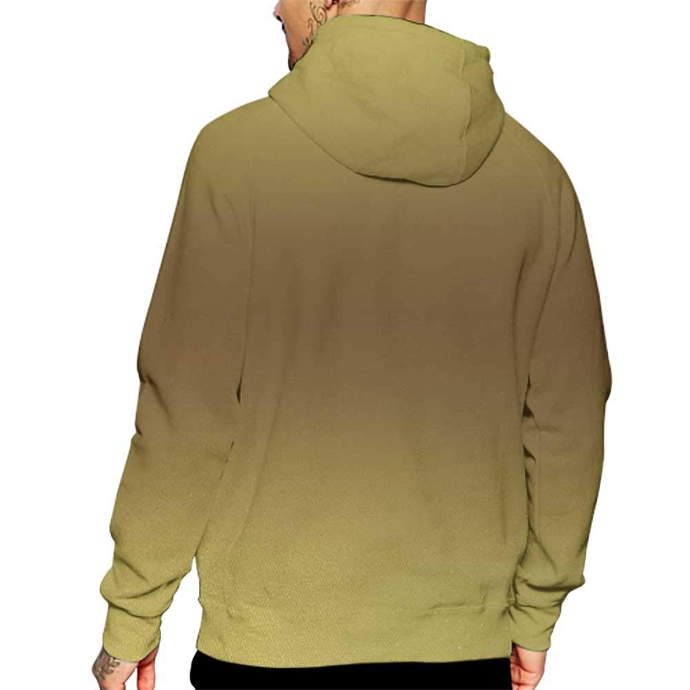 Hoodies Sweatshirt/Men 3D Print Ombre,Vintage Old Golden Retro Richness Inspired Themed Design Digital Artwork Print,Gold and Brown Sweatshirts for Teens