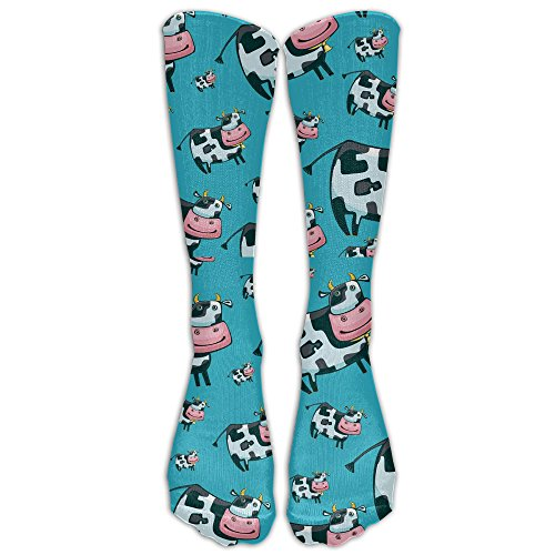 FUNINDIY Cartoon Cow Compression Socks Soccer Socks High Socks Running, Medical, Athletic, Edema, Diabetic, Varicose Veins, Travel, Pregnancy, Shin Splints, Nursing. ()