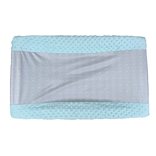 Air Thai Pads (Bubba Baby Wipeable Soft Minky Changing Pad Cover - Fits all Standard Changing Pads - Wipeable, Waterproof, Non Toxic and Hypoallergenic (Light Blue Geometric))