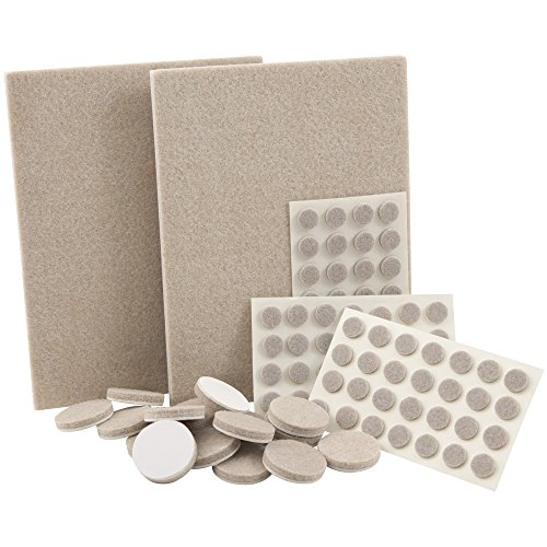 Self-Stick, Heavy Duty Felt Pads Value Pack Assortment for Hard Surfaces (102 pieces) - Oatmeal, Assorted (Pad Value Pack)