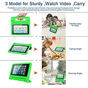 Amazon Kids Kindle Fire 7 Case 2015 Release for Boys&Girls,CAM-ULATA Tablet 7 inch Cover Shock Proof Protective with Handle Stand Holder Light Weight (Previous Generation - 5th) Green