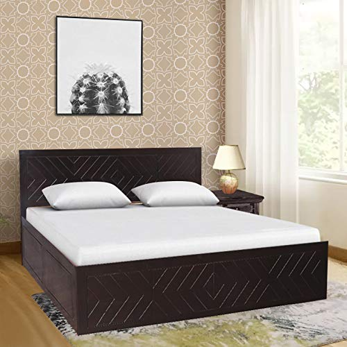 HomeTown Tuscany Solid Wood Box Storage Queen Size Bed in Dark Walnut Colour