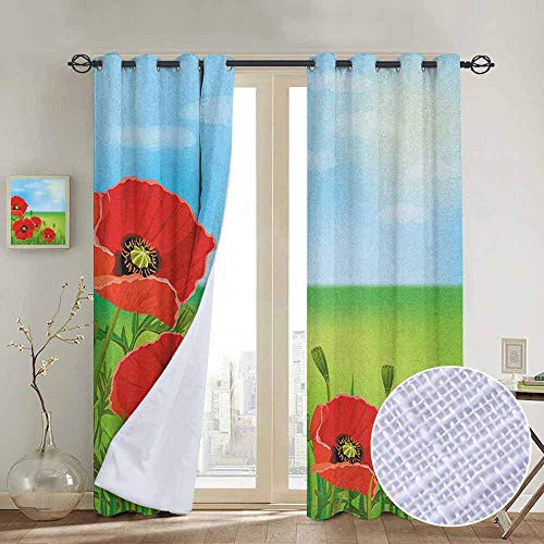 - NUOMANAN Blackout Curtains Poppy,Sunny Day is Upon The Green Hills of The Country Red Summer Blossoms Growth, Red Pale Blue Green,for Bedroom,Nursery,Living Room 120