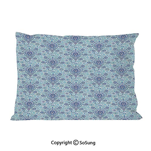 Light Blue Bed Pillow Case/Shams Set of 2,Intricate Paisley Pattern Traditional Persian Teardrop Floral Motif Decorative Queen Size Without Insert (2 Pack Pillowcase 30