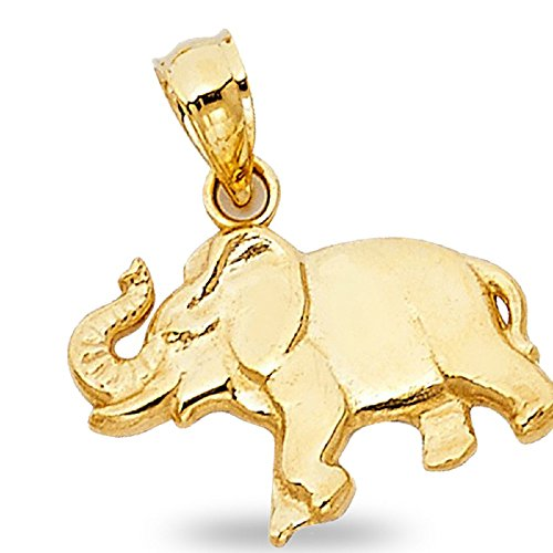GemApex Elephant Charm Solid 14k Yellow Gold Animal Pendant Diamond Cut Design Fancy 11 x 16 mm ()