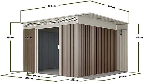 Cobertizo metal gris/beige Orebro para almacenamiento 8, 96m2 ...