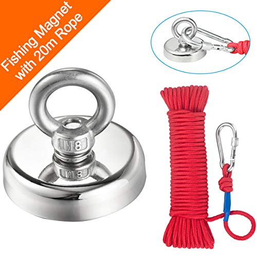 TooTaci Double Side Magnet fishing and 66ft//6mm Durable Rope Round Super Strong Fishing Neodymium Magnet with Eyebolt for Magnet Fishing and Salvage in River 60mm Diameter
