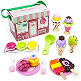 Imagination Generation Wood Eats! Traveling Parlor Playset with Popsicles, Ice Cream & Sundaes, 25 Piece
