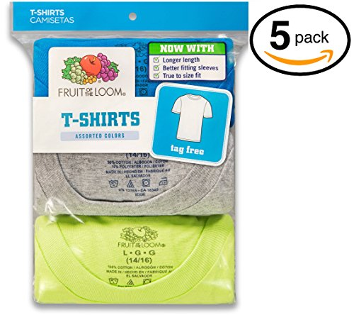 Fruit of the Loom Little Boys Crew Tee Five-Pack (Pack of 5) (Large, Assorted)