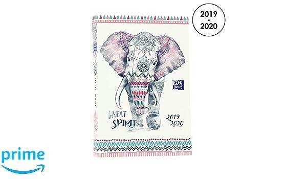Oxford Boho Chic Agenda escolar diaria 2019-2020 1 día página 352 páginas 12 x 18 elefante