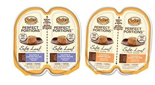 Nutro Perfect Portions Grain Free Soft Loaf Cat Food 2 Flavor 8 Can Variety Bundle: (4) Chicken & Shrimp Recipe, and (4) Salmon & Chicken Recipe, 2.6 Oz. Ea. (8 Cans Total)
