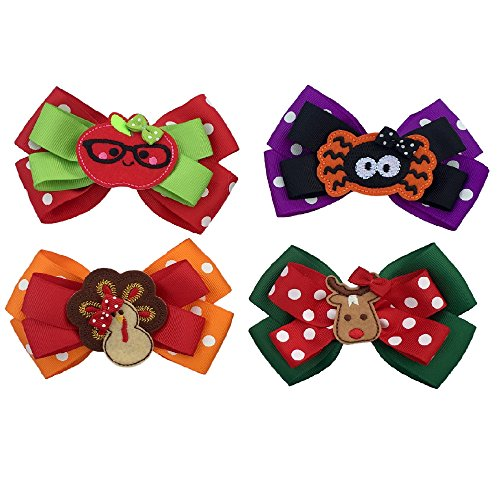 Hair Bows for Girls - Four Seasonal Hair Bows Boutique Grosgrain Ribbon - Clips to Hair- Halloween, Thanksgiving, Christmas for $<!--$17.95-->