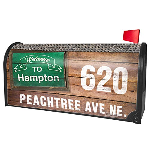 NEONBLOND Custom Mailbox Cover Green Sign Welcome to Hampton