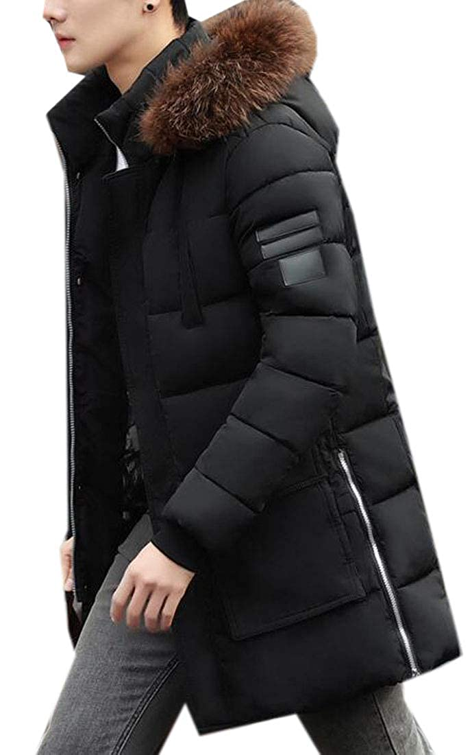 Jotebriyo Mens Mid Length Faux Fur Hooded Winter Fleece Warm Quilted Jacket Coat Outerwear