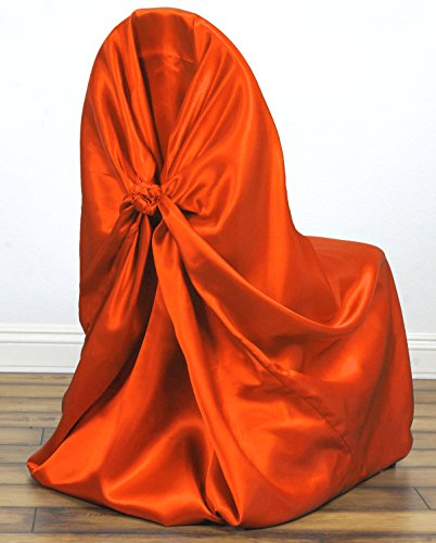MDS Pack of 1 satin Universal Chair Cover / Pillowcase / tie back self chair cover for Wedding or Events Banquet / Folding Chair cover - orange