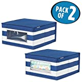 mDesign Soft Stackable Fabric Closet Storage Organizer Holder Box - Clear Window, Attached Hinged Lid, for Child/Baby Room, Nursery - Striped Pattern - Medium, Pack of 2, Navy Blue/White