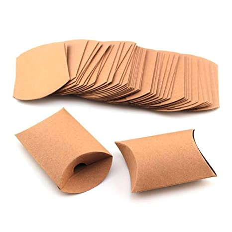 RUBY -50 Cajas Vintage Kraft marrón a rústico Shabby envolver Almohada Cajas para Regalo Bolsas