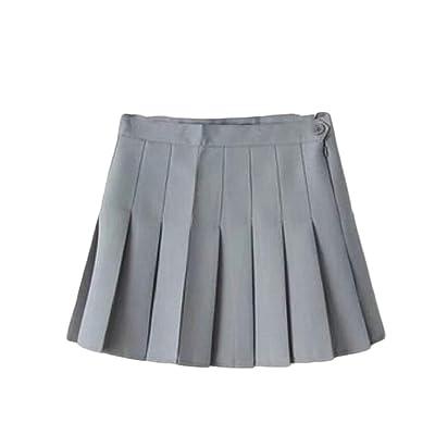 Falda de Seguridad para Cosplay de Cintura Alta Japonesa Plisada para Mujer 5 36: Ropa y accesorios