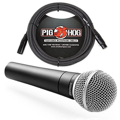 Shure SM58 Cardioid Vocal Microphone & Pig Hog Mic Cable, 20ft XLR - Bundle (Black) by Shure