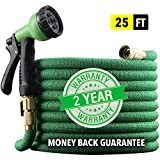 "[2019 NEW] HEAVY DUTY 25 ft Non-Kink Expandable Garden Hose, 10-PATTERN Spray Nozzle INCLUDED, 3/4"" Brass Fittings with Shutoff Valve, STRONGEST EXPANDABLE 25-FOOT HOSE - 2 YEAR WARRANTY - GREEN"