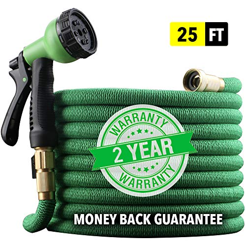 "[2019 NEW] HEAVY DUTY 25 ft Non-Kink Expandable Garden Hose, 10-PATTERN Spray Nozzle INCLUDED, 3/4"" Brass Fittings with Shutoff Valve, STRONGEST EXPANDABLE 25-FOOT HOSE - 2 YEAR WARRANTY - GREEN by EnerPlex"