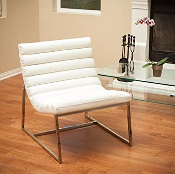Christopher Knight Home Parisian White Elegant Leather Sofa Chair No Assembly Required With Stainless Steel Frame