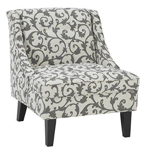 Signature Design by Ashley – Kexlor Vine Design Accent Chair, Gray White