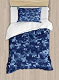 Ambesonne Camo Duvet Cover Set, Retro Composition of Grunge Camouflage Pattern Print in Modern Blue Tones, Decorative 2 Piece Bedding Set with 1 Pillow Sham, Twin Size, Dark Blue