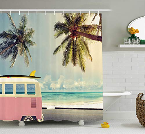 Ambesonne Surf Shower Curtain, Minivan The Beach Retro Inspired Vacation Clouds in Summer Sky Honeymoon Destination, Cloth Fabric Bathroom Decor Set with Hooks, 70