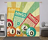 iPrint 2 Panel Set Window Drapes Kitchen Curtains,Vintage Decor Bingo Game with Ball and Cards Pop Art Stylized Lottery Hobby Celebration Theme Multi,for Bedroom Living Room Dorm Kitchen Cafe