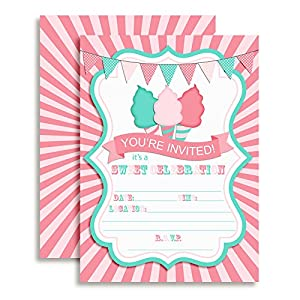 Cotton Candy Birthday Party Fill in Invitations set of 10 Cards with White Envelopes