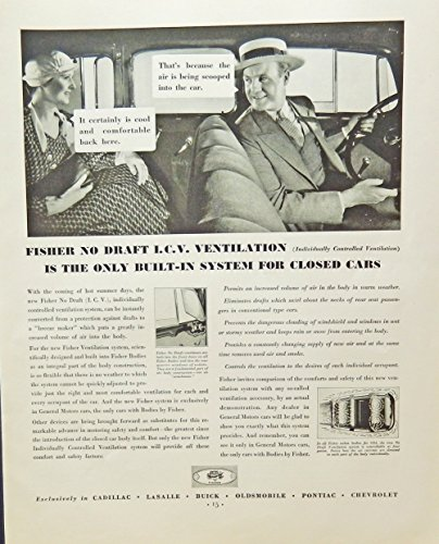 Fisher built-in ventilation system for closed cars. 30's print ad. B&W Illustration (it certainly is cool back here) original 1930 Fortune Magazine Art