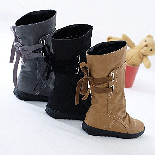 Flat Wedge Winter Ankle Shoes Yard Classics Vintage Biker Ladies Low Stable Boots Trim Simple Black Boots Boots Walking Outdoor Boots EqB4Owvx