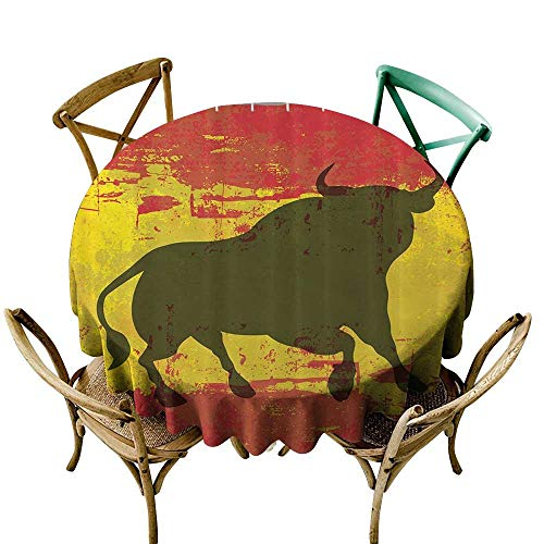 Jbgzzm Restaurant Tablecloth Spanish Bull Antiqued Aged Symbol Spaniard Icon Spain Flag Grunge Digital Clip Art Funky Lovely Decor Print Picnic D67 Red and ()