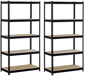 "Sandusky/Edsal UR185P-BLK Black Steel Heavy Duty 5-Shelf Shelving Unit, 4000lbs Capacity, 36"" Width x 72"" Height x 18"" Depth (Does not include post couplers) (Pack of 2)"