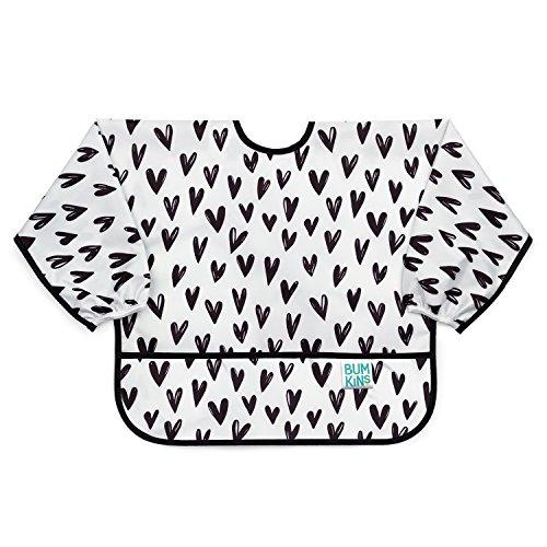 Bumkins  Sleeved Bib / Baby Bib / Toddler Bib / Smock, Waterproof, Washable, Stain and Odor Resistant, 6-24 Months  - Black Hearts