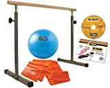 GoFit GoBarre Ballet Workout Set, Portable, Adustable Free-Standing Ballet Bar for Dancing, Stretching, Barre Workouts with Resistance Band and Core Ab Ball