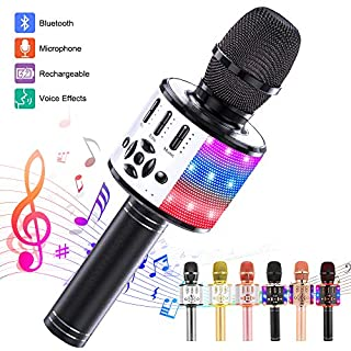 Ankuka Karaoke Microphone for Kids, Fun Toys for Girls and Boys, Portable Wireless 4 in 1 Bluetooth Karaoke Microphone with LED Lights (Space Gray)