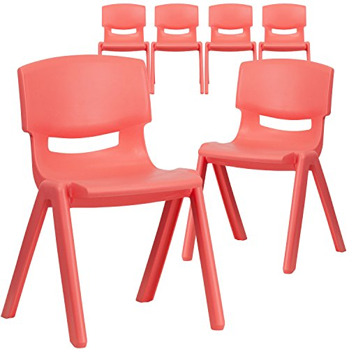 (Flash Furniture 6 Pk. Red Plastic Stackable School Chair with 13.25'' Seat Height)